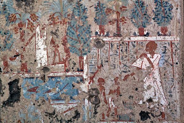 Nedjemger inspectant les travaux dans les jardins du Ramesseum - TT 138 (photo Yann Rantier)