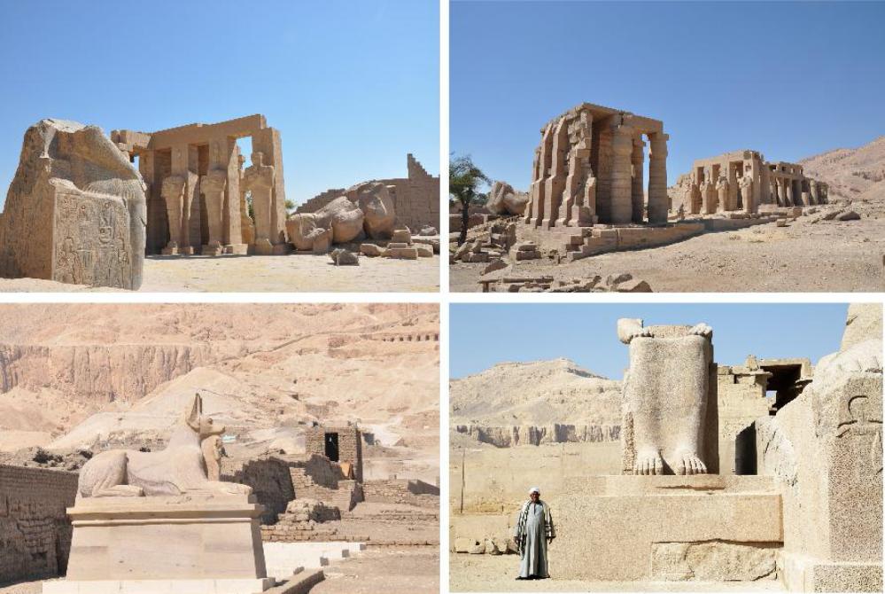 En bas, à droite : Le colosse de Touy retrouve sa place dans la première cour