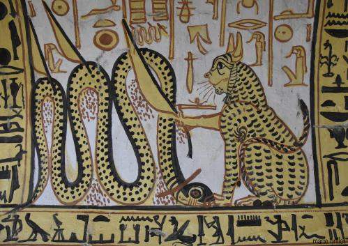 Deir el Medineh – Village des artisans  Tombe de Nakhtamon - TT 335 - Le chat d'Heliopolis combattant Apophis