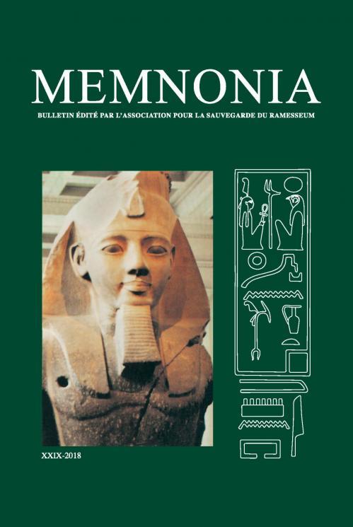 Memnonia xxix 2018 couverture