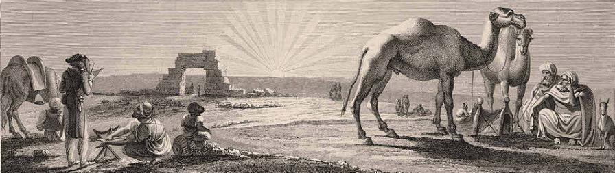 Denon croquant les ruines de hieraconp