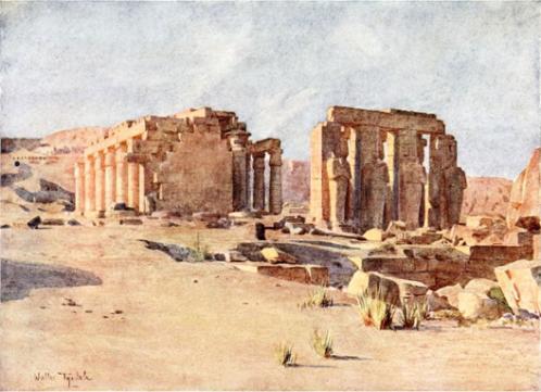 Le Ramesseum. Aquarelle de Walter F. R. Tyndale (1910).